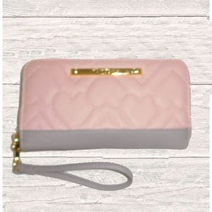 NWT BETSEY JOHNSON BLUSH / GRAY QUILTED Z/A WALLET